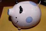 Old fashioned pink polka dot piggy bank