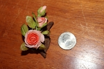 Miniature Japanese Clay Rose  on driftwood  red