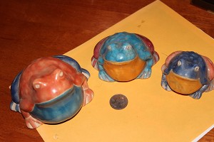 Raku toads set of 3 sm, med, lg