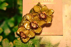 Triple Green Cymbidum Enameled Orchid Pin, Brooch gold