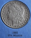 1885  P Morgan Silver Dollar   vf