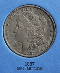1887 P Morgan Silver Dollar VF-F