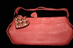 JUICY COUTURE Pebbled Pink Leather studded Rhinestone Heart Bag Handbag
